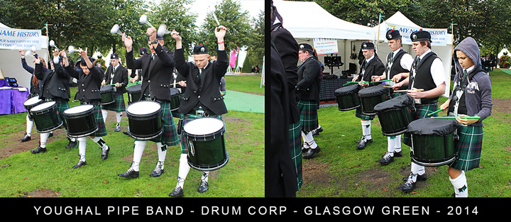 Youghal Pipe Band - Drum Corp - Glasgow Green - 2014