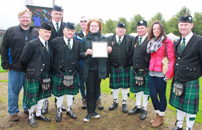 Youghal Pipe Band with Sons of Scotland (Canada) band members Bethany Bissallion and friends at the World Pipe Band Championships 2014