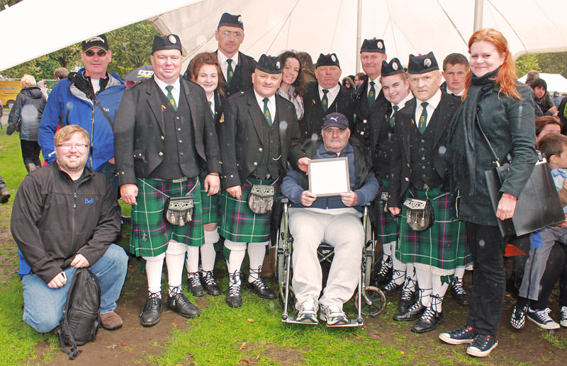 Youghal Pipe Band at the World Pipe Band Championships with Sons of Scotland (Canada) band members Bethany Bissallion and friends.