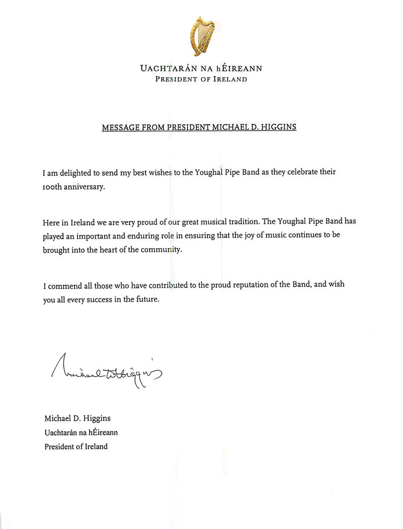 A message from President Michael D Higgins to Youghal Pipe Band
