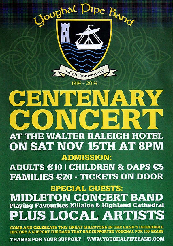 Centenary Concert – Walter Raleigh Hotel Youghal – Saturday Nov 15th 2014 - Poster